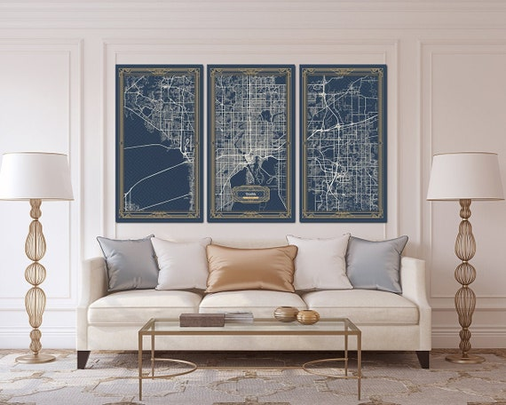 Tampa Fl Florida Canvas Map Print Art Deco Stretched Map Wall Etsy