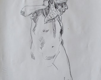 Charcoal life drawing of a man with a scarf
