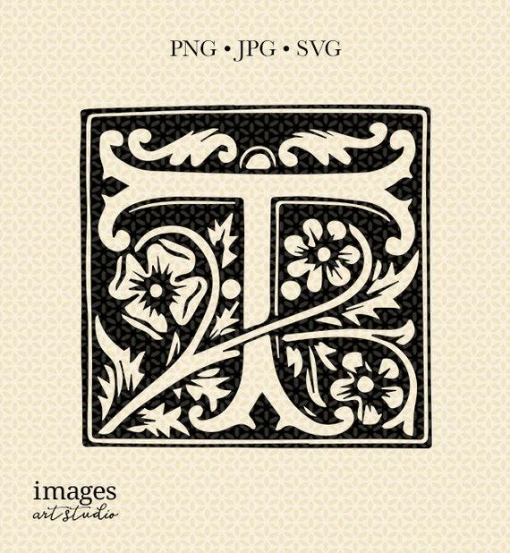 Decorative Letter A.Vintage Monogram Letter T Illustrated Clipart Letter T Decorative Letter T Vintage Letter Art Digital T Vintage Letter Illustration