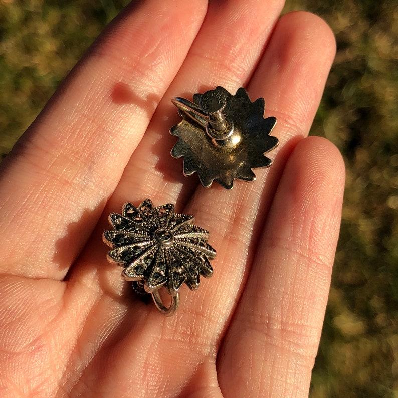 Art Deco Marcasite Pinwheel Earrings Sterling Silver Screw Back