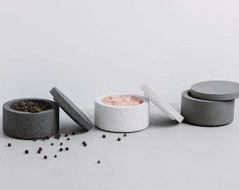 Concrete Jesmonite Salt and Pepper Pot   Cement Salt Pinch Bowl   Grey/White/Graphite Kitchen Storage Dishes   Concrete Salt or Pepper Bowl