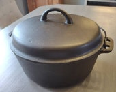 Vintage Iron Mountain by Griswold Cast Iron 8 Dutch Oven With Trivet Fully Cleaned and Seasoned