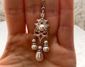 Sterling silver white swarovski pearl and clear crystal earrings