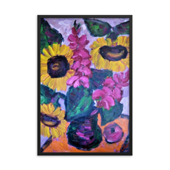 Bartos Art Framed Poster: SUNFLOWER STILL LIFE, Create a unique and personalized Ambiance in your Home and Office