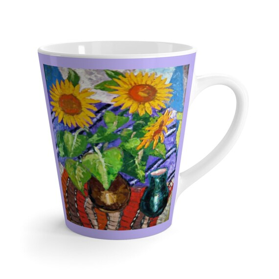 Bartos Art Latte Mug: Sunflowers, Beautiful Work of Art on Mug for true Coffee Lovers