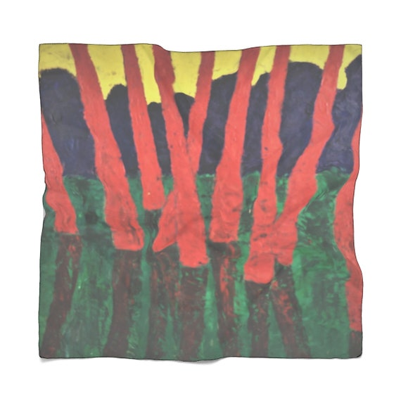 Bartos Art Scarf: Red Woods, Enhance your Individuality and Appearance for every Occasion