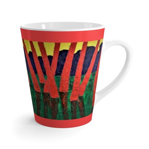 Bartos Art Latte Mug: Red Woods, Beautiful Work of Art on Mug for true Coffee Lovers