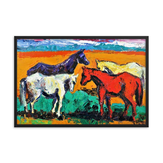 Bartos Art Framed Poster: HORSES, Create a unique and personalized Ambiance in your Home and Office