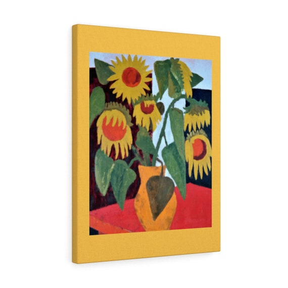 Bartos Art Canvas with Color Margin: WILTED SUNFLOWERS, Emphasize your Individuality at your Home and in your Office