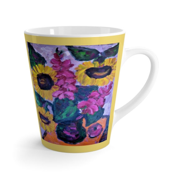 Bartos Art Latte Mug: Sunflower Still Life, Beautiful Work of Art on Mug for true Coffee Lovers