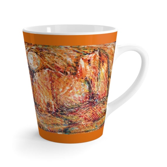 Bartos Art Latte Mug: Abstract Castle, Beautiful Work of Art on Mug for true Coffee Lovers
