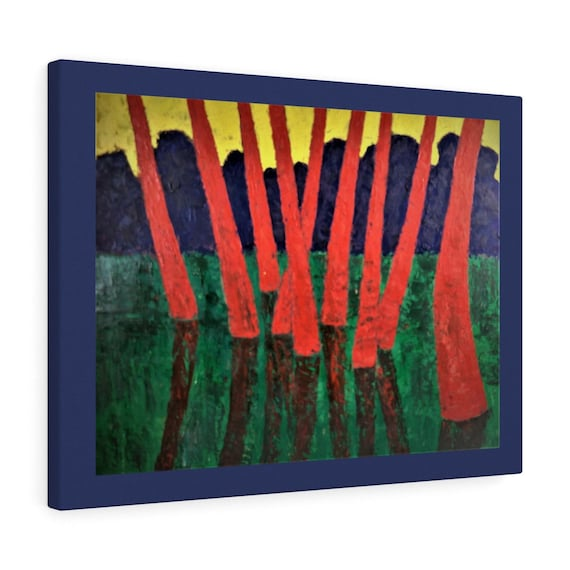 Bartos Art Canvas with color Margin: RED WOODS, Emphasize your individuality at your home and in your office