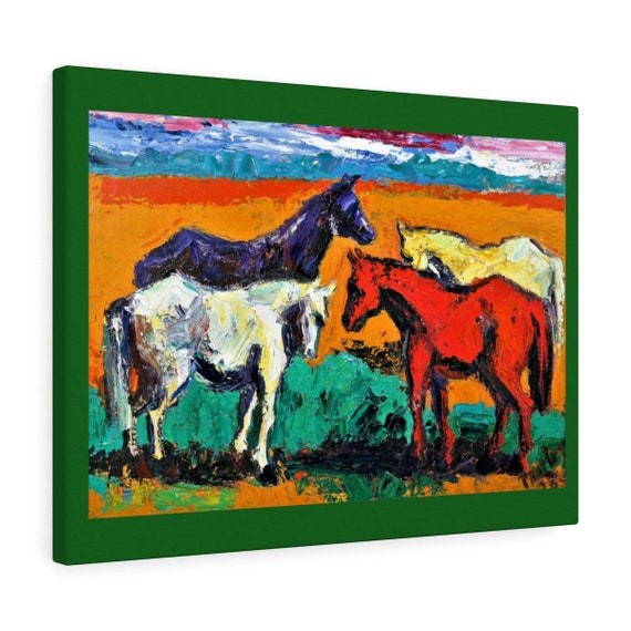 Bartos Art Canvas with Color Margin: HORSES, Emphasize your Individuality at your Home and in your Office