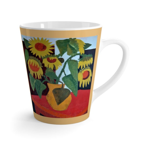 Bartos Art Latte Mug: Wilted Sunflowers, Beautiful Work of Art on Mug for true Coffee Lovers