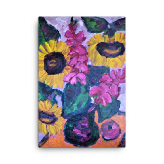 Bartos Art Stretched Canvas: SUNFLOWER STILL LIFE, Create Your Personalized Environment