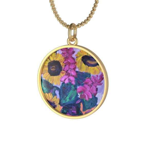 Bartos Art Necklace: Sunflower Still Life, Individual and aesthetically pleasing Appearance