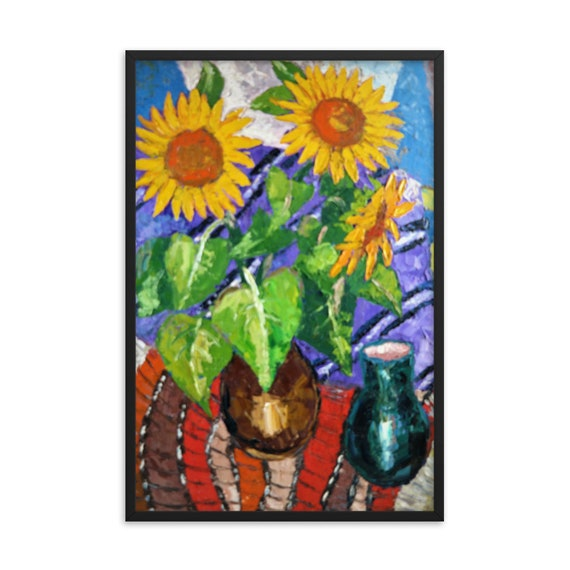 Bartos Art Framed Poster: SUNFLOWERS, Create a unique and personalized Ambiance in your Home and Office