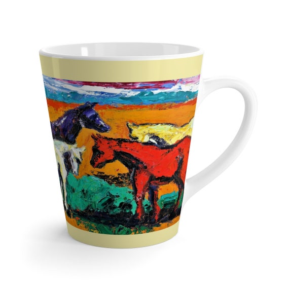 Bartos Art Latte Mug: Horses, Beautiful Work of Art on Mug for true Coffee Lovers