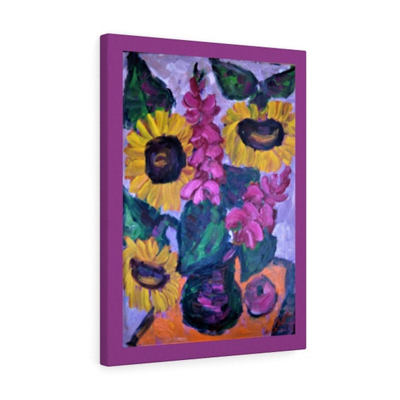 Bartos Art Canvas with Color Margin: SUNFLOWER STILL LIFE, Emphasize your Individuality at your Home and in your Office