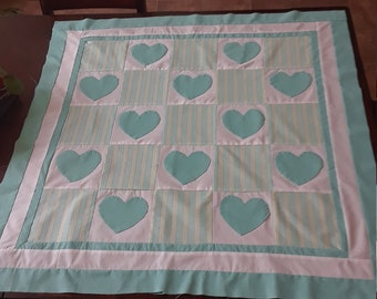 heart applique baby quilt top