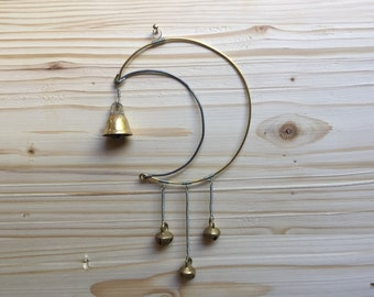 Wire Bell Moon Wind Chime Garden Art
