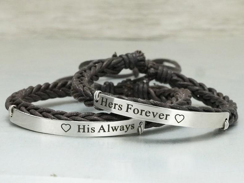 Matching Couple Bracelets Boyfriend Girlfriend Jewelry His and Her Forever Always Bracelets Engraved Bracelet Dark Brown Braided Cuff
