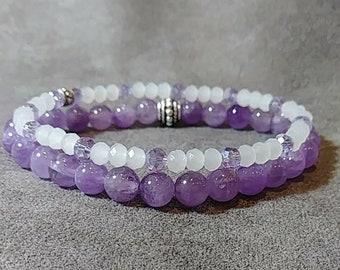 6mm Amethyst Bracelet Set, Healing Bracelet, Amethyst Beads, Natural Healing Stone Bracelet, Amethyst Jewelry, Bracelet Set, Gemstone
