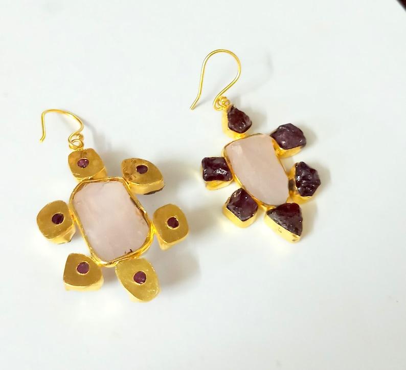 Peacock Earrings Handmade Earrings Rose Quartz Earrings Gold Vermeil Earrings Dangle Earring- Designer Earrings- Pear Stone Earrings