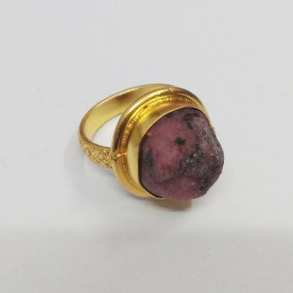 Handmade Ring Designer Ring Natural Ruby Ring Gold Plated Ring Bezel Set Ring Women Christmas Gift Raw Ruby Ring Fashion Ring