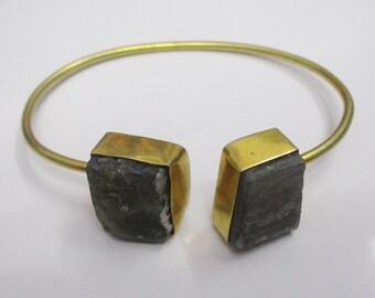 Handmade Bangle - Raw Stone Bangle - Labradorite Bangle - Gold Plated Bangle - Double Stone Bangle - natural Stone Bangle - Women Bangle
