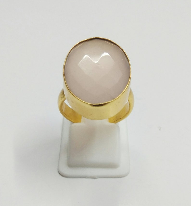 Birthday Gift Ideas Rose Quartz Ring Oval Shape Ring Pink Stone Ring Handmade Brass Ring Stackable Ring Gift For Her