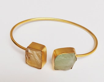 Aquamarine Bangle - Raw Stone Bangle - Gold Plated Bangle - Citrine Bangle - Adjustable Bangle - Designer Bangle - Fashion Bangle