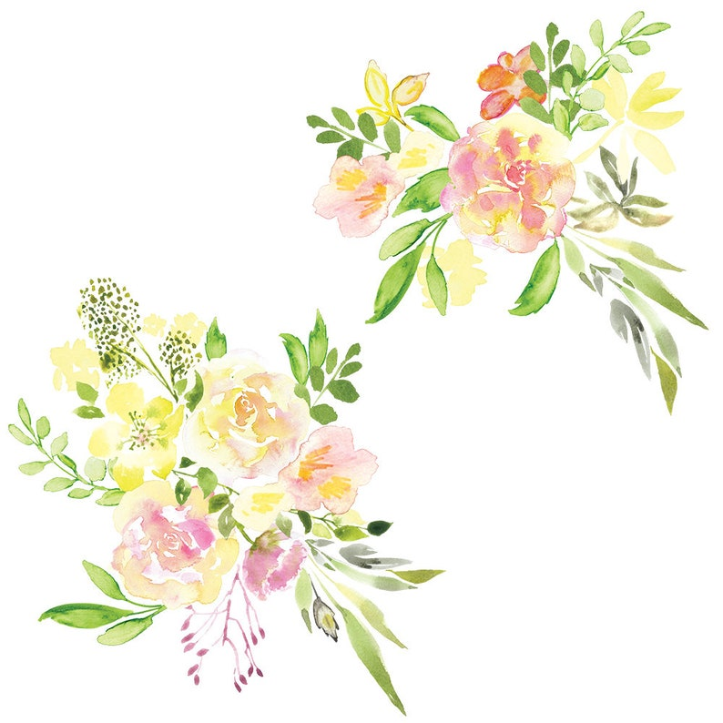Watercolor Pink Roses Golden Green hand painted Clipart PNG Wedding Invitation Scrapbook planner sticker floral arrangament commercial use