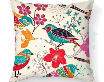 Floral bird cushion cover, tropical theme throw pillow, colorful birds and flowers, decorative throw pillow, indoor/ outdoor cushion