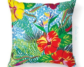 Floral cushion, tropical theme cushion, red flower in the jungle, decorative throw pillow, indoor, outdoor cushion, tropical cushion cover