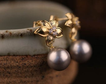 Gold Vintage Earrings,Gray Beads Earrings,Fashion Flower Earrings,Sterling Silver Needle Earrings