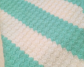 Turquoise and Cream Baby Afghan
