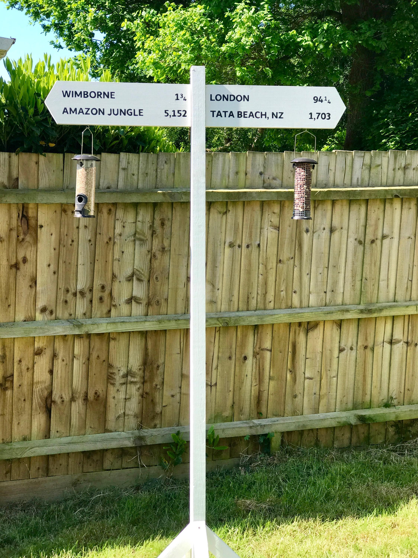 Personalised Garden Sign Post Bird Feeder