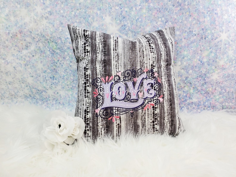 Love style decor Accent pillow cover Embroidered pillow cover 16 x 16 Pillow insert option