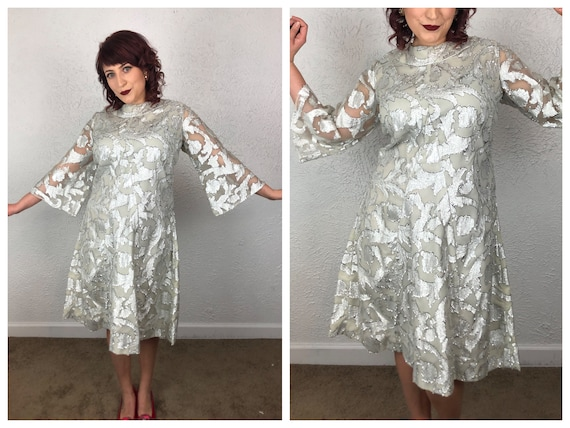 VOLUP Curvy Plus Size 1960s 60s Metallic Silver La