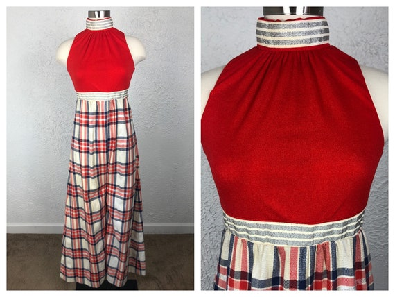 1970s 70s Red White and Blue with Silver Lurex Moc