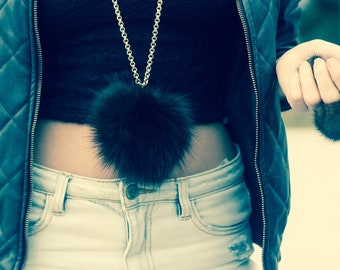 Necklace with original mink leather and stainless steel chain, our design, new collection