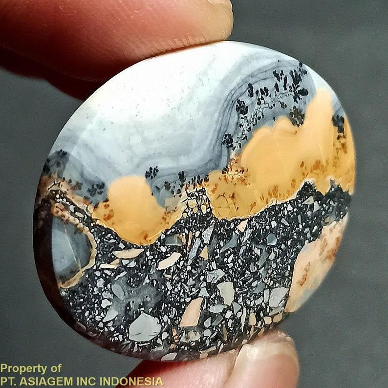 45ct Brown Gray Black Jasper /'Landscape/' Picture Agate ~Natural Untreated