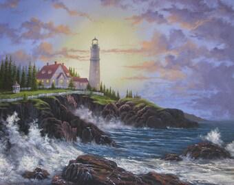 Maine Lighthouse. maine. ocean. seaside. lighthouse. Kinkade. oil painting