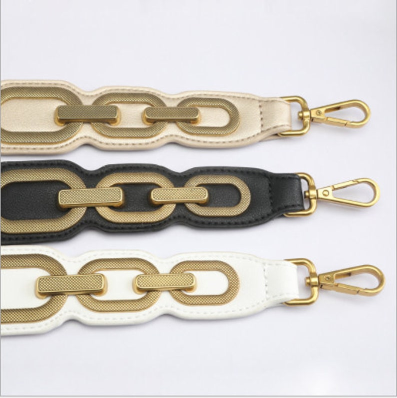Genuine Leather Metal Ring Purse Strap New Replacement Shoulder Handbag Chain Cross-body Strap Bag Pochette Handle 4.5cm Width 89cm Long