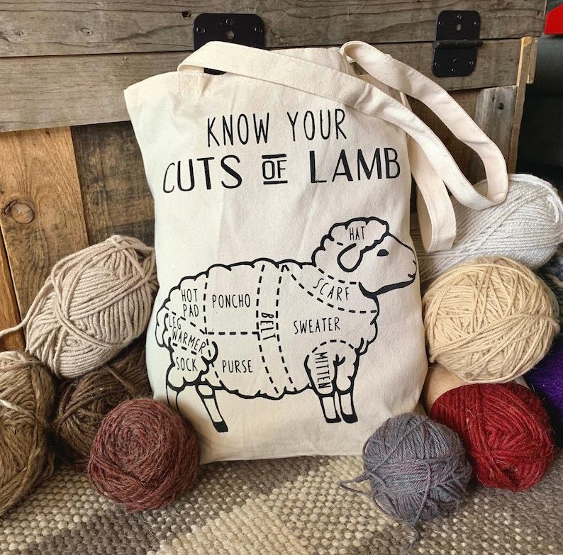 Cuts of Lamb Knitting Tote Bag image 0