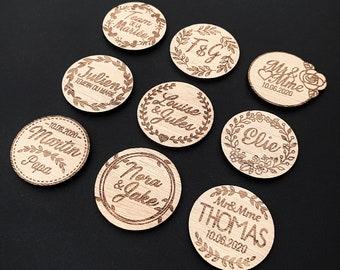 """cadeau carte deco Mariage 4 Pièce bande Badge bois /""""étoiles/"""" Incl"""