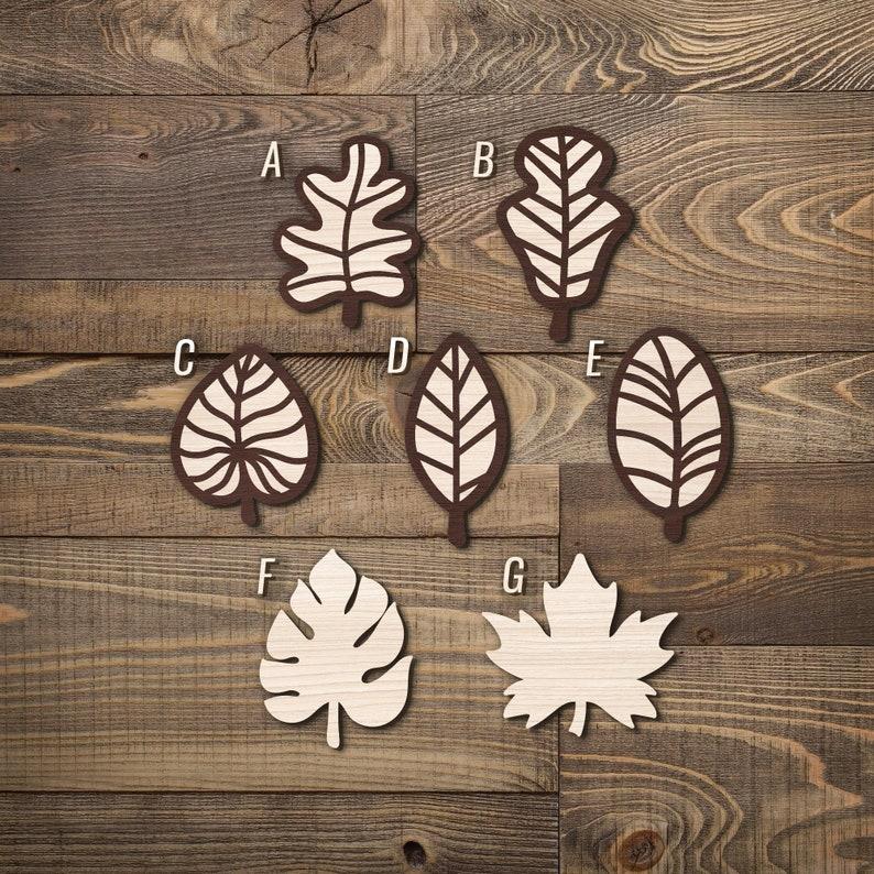 Flower Wood Leaf Theme Badge  Engraved wood pin/'s  Nature  Leaf  Tree