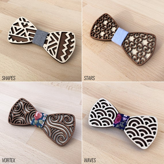 Wooden PIE Butterfly Knot  15 fabric patterns  7 wood finishes