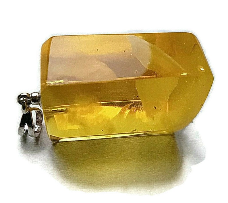 Genuine Baltic amber pendant Rectangle shape natural amber pendant Clear shiny amber pendant
